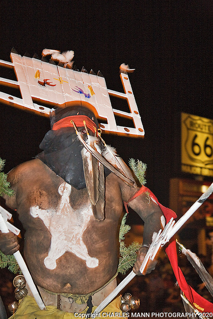 The Gallup 90th Intertribal Ceremonial features many different tribes participating in a number of events and ceremonies. The Night Parade was held on Thursday August 12. A White River Apache Crown Dancer, or Gaan, adds an eerie tone to the night's events.