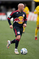 Mar 26, 2011; Columbus, OH, USA; New York Red Bulls forward Luke Rodgers (9) brings the ball upfield against the Columbus Crew during their match at Columbus Crew Stadium. The game finished in a 0-0 tie.