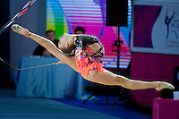 MELITINA STANIOUTA of Belarus performs with ribbon at 2016 European Championships at Holon, Israel on June 18, 2016.