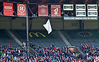 Portland, OR - Saturday April 15, 2017:  2016 Shield Banner is dropped during a regular season National Women's Soccer League (NWSL) match between the Portland Thorns FC and the Orlando Pride at Providence Park.