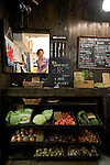 Organic vegetables are displayed outside Nomin Cafe in Shimokitazawa in Setagaya Ward, Tokyo, Japan..Photographer: Robert Gilhooly