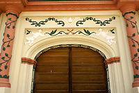 Entrance to the restored 17th century Iglesia de San Matias church in the Lenca Indian village of La Campa, Lempira, Honduras...