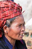 Myanmar, Burma.  Burmese Woman of Pa-O Ethnic Group at Local Market, Inle Lake, Shan State.