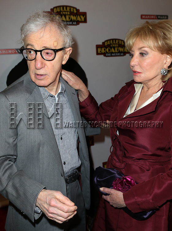 Woody Allen and Barbara Walters attending the Broadway Opening Night Performance of ''Bullets Over Broadway' at the St. James Theatre on April 10, 2014 in New York City.