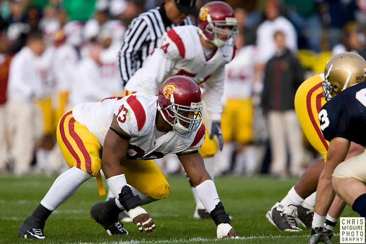 10/17/09 - South Bend, IN:  USC defensive end Everson Griffen waits for the snap at Notre Dame Stadium on Saturday.  USC won the game 34-27 to extend its win streak over Notre Dame to 8 games.  Photo by Christopher McGuire.