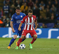 Atletico Madrid's Jorge Resurreccion shields the ball from Leicester City's Christian Fuchs<br /> <br /> Photographer Stephen White/CameraSport<br /> <br /> UEFA Champions League Quarter Final Second Leg - Leicester City v Atletico Madrid - Tuesday 18th April 2017 - King Power Stadium - Leicester <br />  <br /> World Copyright &copy; 2017 CameraSport. All rights reserved. 43 Linden Ave. Countesthorpe. Leicester. England. LE8 5PG - Tel: +44 (0) 116 277 4147 - admin@camerasport.com - www.camerasport.com