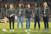 STANFORD, CA - October 8, 2016: Stanford Olympians at Stanford Stadium. The Washington State Cougars defeated the Cardinal 42-16.