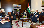 Palestinian President Mahmoud Abbas meets with the executive director of the world bank in the Middle East, in the West Bank city of Ramallah on Jan. 31, 2013. Photo by Thaer Ganaim