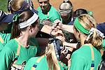 24 April 2016: Notre Dame players huddle before the game. The University of North Carolina Tar Heels hosted the University of Notre Dame Fighting Irish at Anderson Stadium in Chapel Hill, North Carolina in a 2016 NCAA Division I softball game. UNC won game 1 of the doubleheader 7-4.