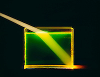 REFRACTION of LIGHT by WATER in GLASS TANK (2 of 2)<br /> Light Strikes At An Angle Other Than 90'.(Blue light-Lower angle of view) Light strikes fluorescine tinted water at angle other than 90'.