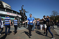 A Games Maker mingles with the crowd. The Clash, Aviva Premiership match, between Bath Rugby and Leicester Tigers on April 8, 2017 at Twickenham Stadium in London, England. Photo by: Rogan Thomson / JMP for Onside Images
