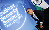 United States President Barack Obama holds bilateral meeting with Prime Minister Dr. Manmohan Singh of India (not pictured) prior to the Nuclear Security Summit at the Blair House, Sunday, April 11, 2010 in Washington, DC. .Credit: Olivier Douliery / Pool via CNP