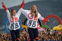 AUG 18 GB's Hannah Mills and Saskia Clark celebrate on the podium at Rio2016 Olympic Games