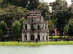 Hanoi, Vietnam, Turtle Tower stands on an island inside Hoan Kiem Lake. photo taken July 2008.