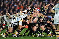 A general view of a scrum. European Rugby Champions Cup match, between Bath Rugby and Wasps on December 19, 2015 at the Recreation Ground in Bath, England. Photo by: Patrick Khachfe / Onside Images