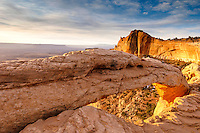 Mesa Arch in Canyonlands National Park at sunrise.