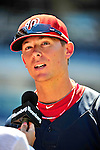 3 July 2010: Washington Nationals' pitcher Tyler Clippard is interviewed by the media prior to a game against the New York Mets at Nationals Park in Washington, DC. The Nationals defeated the Mets 6-5 in the third game of their 4-game series. Mandatory Credit: Ed Wolfstein Photo