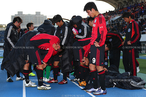 Komazawa University high school team group , JANUARY 5, 2016 - Football / Soccer : 94th All Japan High School Soccer Tournament quarterfinal match between Komazawa University high school 0-1 Higashi Fukuoka at Komazawa Olympic Park Stadium, Tokyo, Japan. (Photo by Shingo Ito/AFLO SPORT)