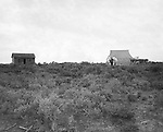 Jerome ID:  Temporary living facilities set up while the cabin was under repair - 1909.  Brady Stewart and three friends went to Idaho on a lark from 1909 thru early 1912. As part of the Mondell Homestead Act, they received a land grant of 160 acres north of the Snake River.  As part of the land grant, there was an old farmhouse that was in dire need of repair.  For 2 ½  years, Brady Stewart photographed the adventures of farming along with the spectacular landscapes.