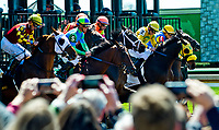 LEXINGTON, KENTUCKY - APR 07: Fans take photos as horses leave the starting gate for an undercard race on opening day at Keeneland Race Course on April 7, 2017 in Lexington, Kentucky. (Photo by Scott Serio/Eclipse Sportswire/Getty Images)