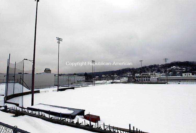 Torrington CT- 11 February 2013-021113CM07-   Snow covers Fuessenich Park in Torrington Monday afternoon.  Christopher Massa Republican-American