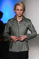 Model walks the runway in an outfit from Danilo Gabrielli Fall Winter 2012 collection, during Nolcha Fashion Week: New York February 2012.