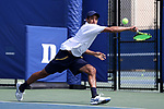 DURHAM, NC - APRIL 14: Notre Dame's Grayson Broadus. The Duke University Blue Devils hosted the University of Notre Dame Fighting Irish on April 14, 2017, at Ambler Tennis Stadium in Durham, NC in a Division I College Men's Tennis match. Duke won the match 4-3.