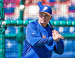 13 March 2014: New York Mets Manager Terry Collins taps out grounders to warm up his infielders prior to a Spring Training game against the Washington Nationals at Space Coast Stadium in Viera, Florida. The Mets defeated the Nationals 7-5 in Grapefruit League play. Mandatory Credit: Ed Wolfstein Photo *** RAW (NEF) Image File Available ***