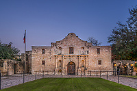 Another image of the Alamo in San Antonio around dusk where there was a brief moment ot no one in front of it.  This is landmark part of the cttyscape of S A and it draws thousand of tourist year round to come to the mission and discover the historic significance of this place.  It is treated with a lot of reverence so respect must be shown when inside at all times. Watermark will not appear on image