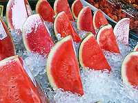 Ice cold refreshing watermelon in a grocery store in New York on Sunday, August 28, 2016. (© Richard B. Levine)