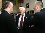 28 August 2005: Soccer Hall of Famer Harry Keough (center) holds court before dinner. The Hall of Fame President's Dinner took place at the United States Soccer Hall of Fame in Oneonta, New York the night before the 2005 induction ceremony.