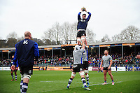 Luke Charteris of Bath Rugby wins the ball at a lineout during the pre-match warm-up. Aviva Premiership match, between Bath Rugby and Saracens on December 3, 2016 at the Recreation Ground in Bath, England. Photo by: Patrick Khachfe / Onside Images