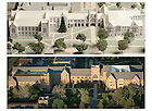 2006 Model of the Notre Dame Law School with the proposed Eck Hall of Law addition, top, and a 2011 photograph of the Biolchini Hall of Law and Eck Hall of Law...Photos by Matt Cashore
