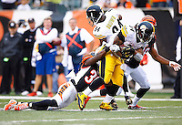 DeAngelo Williams #34 of the Pittsburgh Steelers carries the ball through a tackle by Shawn Williams #36 of the Cincinnati Bengals during the game at Paul Brown Stadium on December 12, 2015 in Cincinnati, Ohio. (Photo by Jared Wickerham/DKPittsburghSports)