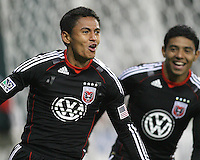 Cristian Castillo #12 follows goal scorer Andy Najar #14 of D.C. United after Najar's second goal during a US Open Cup match against F.C. Dallas on April 28 2010, at RFK Stadium in Washington D.C. United won 4-2.