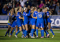 UCLA celebrates after the Women's College Cup semifinals at WakeMed Soccer Park in Cary, NC. UCLA advance on penalty kicks after typing Virginia, 1-1 in regulation time.