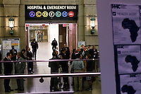 New York City, NY. 23 October 2014. a banner is seen at Bellevue Hospital in Manhattan after a doctor who treated Ebola patients in West Africa before returning to New York tested positive for Ebola.