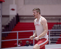 NWA Democrat-Gazette/BEN GOFF @NWABENGOFF<br /> Chris Nilsen of South Dakota takes reacts after clearing the bar at 18 feet, 8 and a quarter inches Friday, Feb. 10, 2017 while competing in the pole vault invitational during the Tyson Invitational at the Randal Tyson Track Complex in Fayetteville. The freshman won the event with the jump standing as his best height.