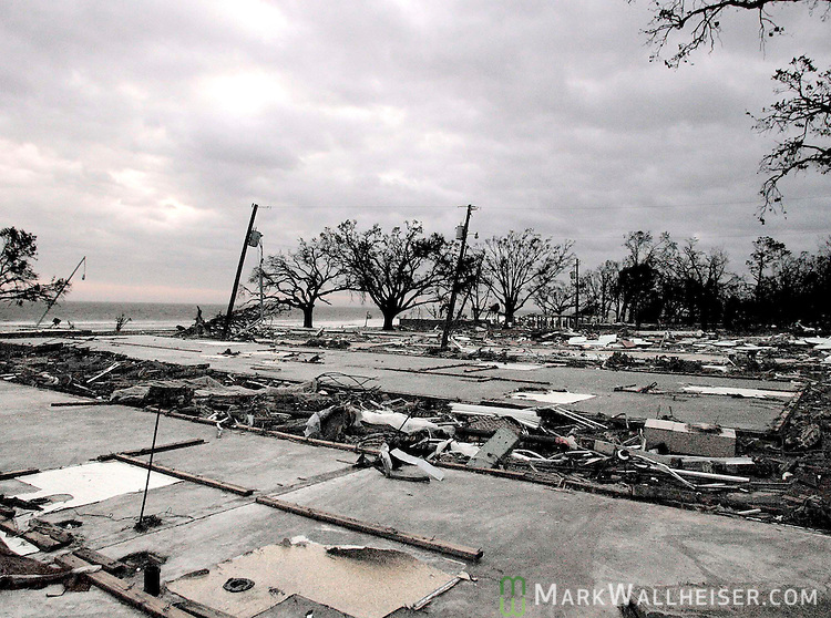 What is left of the Sadler Apartments in Biloxi, Mississippi after Hurricane Katrina obliterated them and close to 100 condominums on the Biloxi waterfront August 29, 2005. Early reports  puths the death toll at 40 along the Mississippi Gulf coast.