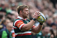 Tom Youngs of Leicester Tigers looks to throw the ball into a lineout. Aviva Premiership match, between Leicester Tigers and Sale Sharks on April 29, 2017 at Welford Road in Leicester, England. Photo by: Patrick Khachfe / JMP