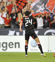 D.C. United midfielder Lewis Neal (24) celebrates his score in the 63th minute of the game. D.C. United defeated The New England Revolution 2-1 at RFK Stadium, Saturday September 15, 2012.