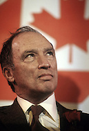 Vancouver, February 13 1980. Joseph Philippe Pierre Yves Elliott Trudeau, (October 18, 1919 - September 28, 2000), was the 15th Prime Minister of Canada from April 20, 1968 to June 4, 1979, and again from March 3, 1980 to June 30, 1984 campaigning ahead of the legislative elctions on May 22 1980.