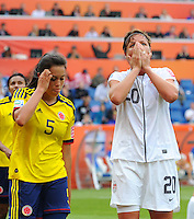 Abby Wambach (r) of team USA reacts during the FIFA Women's World Cup at the FIFA Stadium in Sinsheim, Germany on July 2nd, 2011.