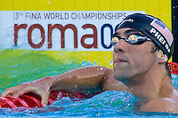 Michael Phelps celebrates his victory in 200 m Men Butterfly competition he won during the 13th FINA Swimming World Championships held in Rome, Italy. Wednesday, 29. July 2009. ATTILA VOLGYI