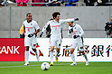 (L-R) Kempes,  Kim Bo-Kyung, Branquinho (Cerezo),.APRIL 7, 2012 - Football / Soccer :.Kim Bo-Kyung of Cerezo Osaka celebrates with his teammates Kempes and Branquinho after scoring their second goal during the 2012 J.League Division 1 match between Omiya Ardija 0-3 Cerezo Osaka at NACK5 Stadium Omiya in Saitama, Japan. (Photo by AFLO)