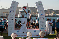 .Picture shows ;Mr. Rashad Al Zubair, the Chairman of The Zubair Corporation and Stage Six winner Mark Cavendish..Robert Gesink from the Rabobank Procycling team wins The Tour of Oman .Part of a Six-stage race .20th February 2011..© Lloyd Images..