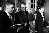 U2 frontman Bono walks through the Ohio Clock Corridor on the Senate side of the Capitol on his  on way to a meeting with lawmakers on the ONE Campaign on Tuesday, June 21, 2011. (Photo By Bill Clark/Roll Call)