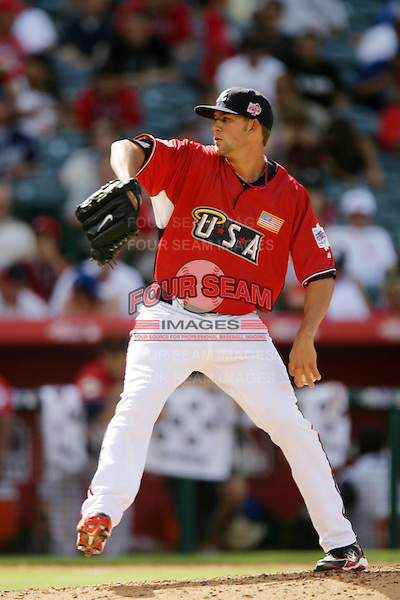Mike Minor of the Atlanta Braves organization participates in the Futures Game at Angel Stadium in Anaheim,California on July 11, 2010. Photo by Larry Goren/Four Seam Images