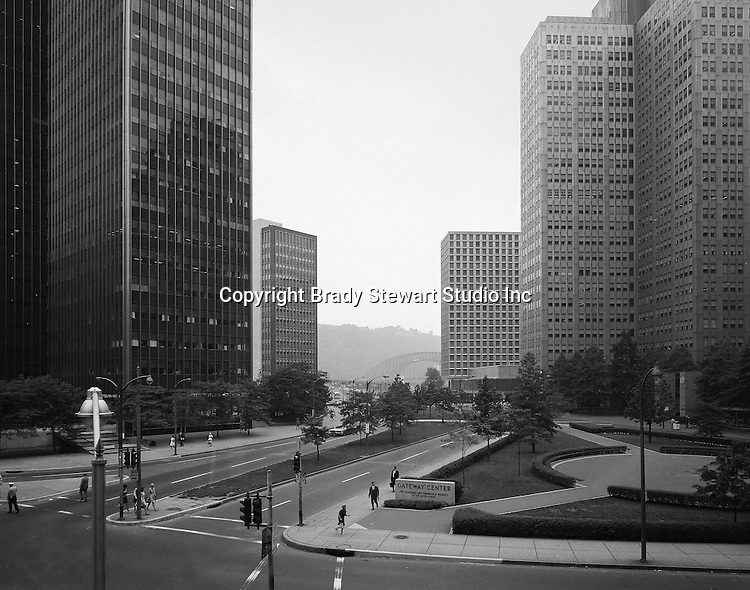 Pittsburgh PA:  View of Pittsburgh's Gateway Center from the 2nd floor of the Empire Building - 1970