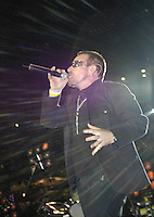 Lead singer of U2 and  political activist Bono performs prior to the Atlanta Falcons-New Orleans Saints football game at the newly re-opened Louisiana Superdome in New Orleans, LA. on Monday, Sept. 25, 2006. Bono sang &quot;it's a Beautiful Day&quot; to the sold out arena.(Photo/Suzi Altman)